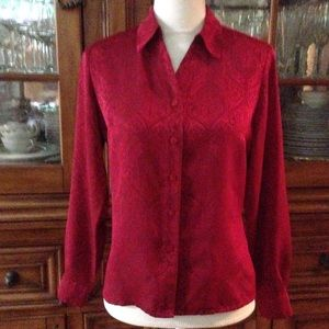 Laura Scott red print blouse